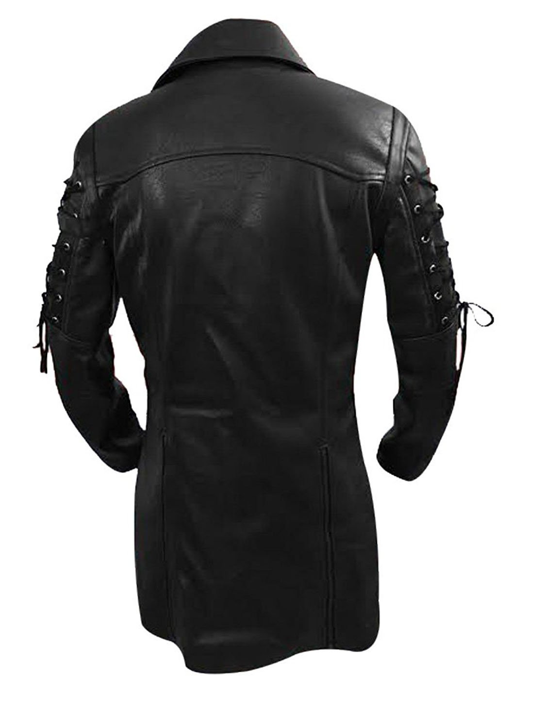 LKT Mens Real Leather Goth Matrix Trench Coat Steampunk Spooky Stylish Design Real Leather Gothic Coats 5