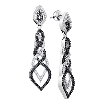 9721f0894e Image Unavailable. Image not available for. Color: 10kt White Gold Womens  Round Black Color Enhanced Diamond Braided Dangle ...