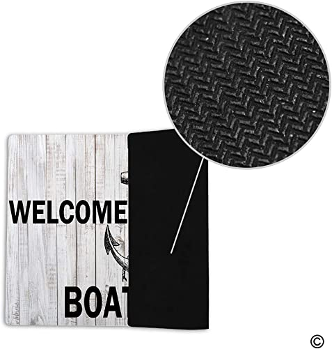 MsMr Funny Doormat Welcome Mat Entrance Floor Mat Indoor Outdoor Kitchen Mat Non-Slip and Non-Woven Fabric 23.6 x 15.7 – Welcome Aboard Personalized Your Boat Name