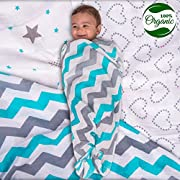 Organic Muslin Swaddle Blankets, Get the Safe & Soft Cuddly Feel - 2 Bibs Gift.