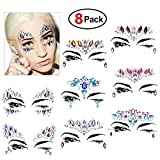 Face Gems Set(8 Pack),Konsait Face Jewels Glitter Bindi Rhinestone Make up Stickers Face Temporary Tattoo Mermaid Tears for Festival Rave Party Supplies Eyes Face Body Forehead Decorations