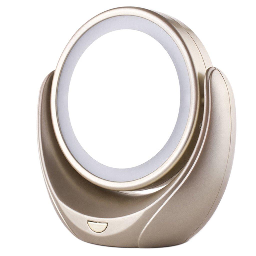 best Geek-House High-end Desktop LED Can Rotate 363 Elegante Beauty Makeup Mirror - Double-Sided Golden