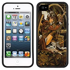 Steampunk Pin-Up Girl Handmade iPhone 5 5S Black Bumper Plastic Case
