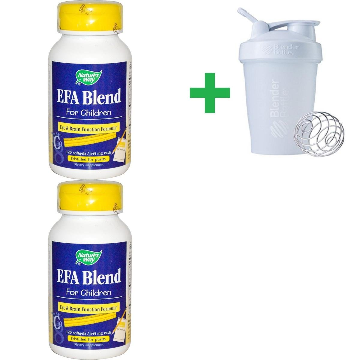 Nature's Way, EFA Blend, for Children, 445 mg, 120 Softgels(2 Packs)+ Assorted Sundesa, BlenderBottle, Classic With Loop, 20 oz