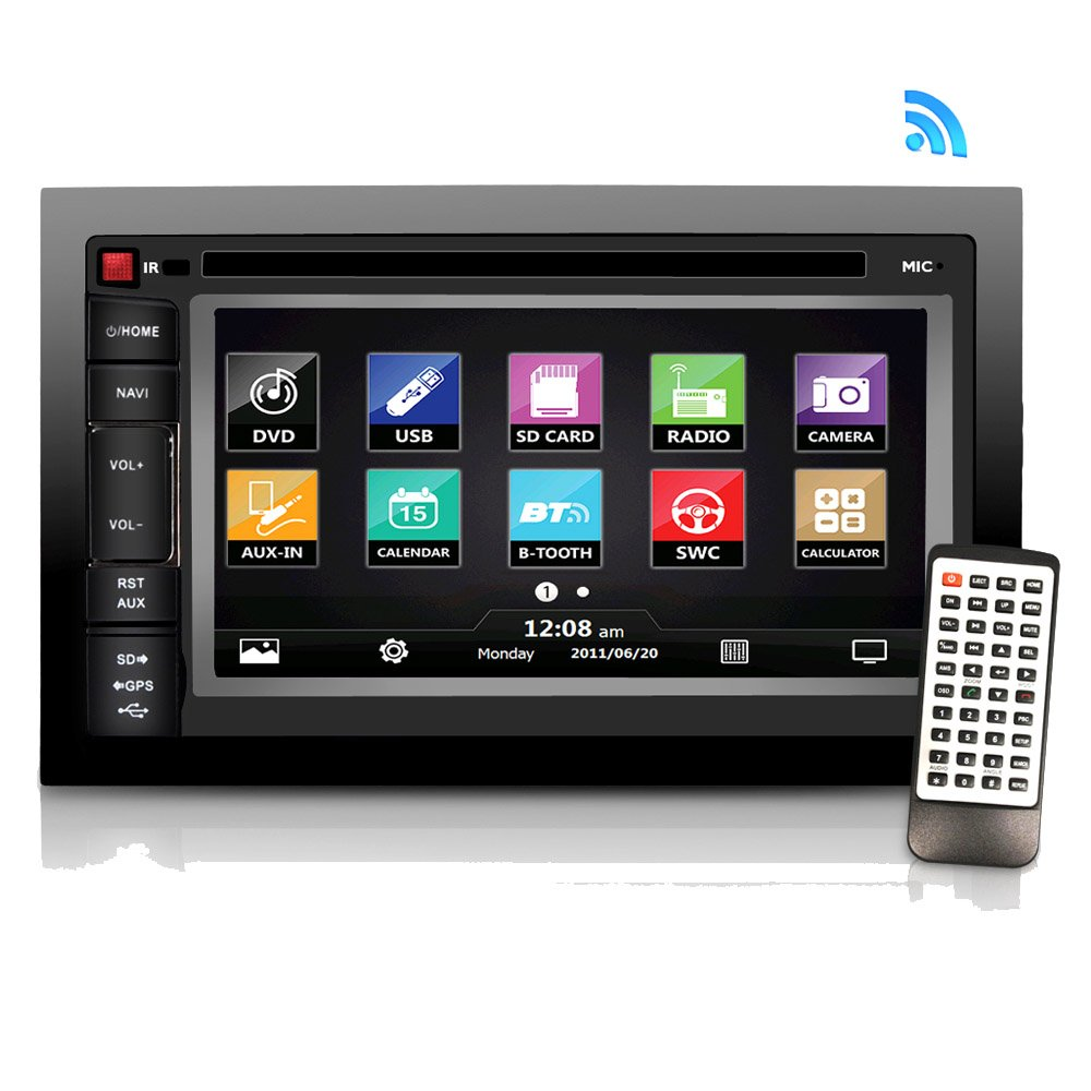 Pyle Headunit Stereo Receiver | 6.5'' -inch Video Touchscreen Display | Bluetooth Wireless Streaming | CD/DVD Player | AM/FM Radio | Double DIN (PLDNV66B)