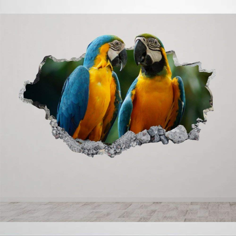 Parrots Bird 3D Wall Mural Smashed Wall Creative Removable Poster Wall at Vinyl Decals for Bedroom Living Room Playroom Nursery Office Shop