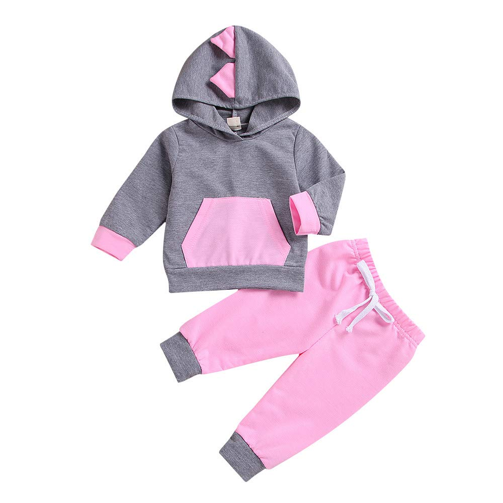 2PCS Toddler Kids Baby Boy Clothes Girl Cute Ear Hooded Tops+Pants Outfits Set