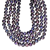 PURE PLANT HOME 8-9mm Baroque Nugget Cultured Freshwater Pearl Necklace Endless Strand Peacock Blue 60""