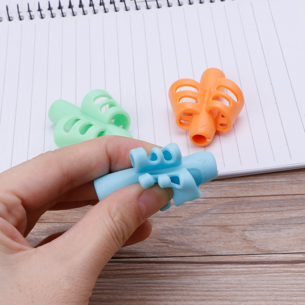 Milue 3Pcs Two-Finger Grip Silicone Baby Pencil Holder Learn Writing Tools Writing Pen by Milue (Image #5)