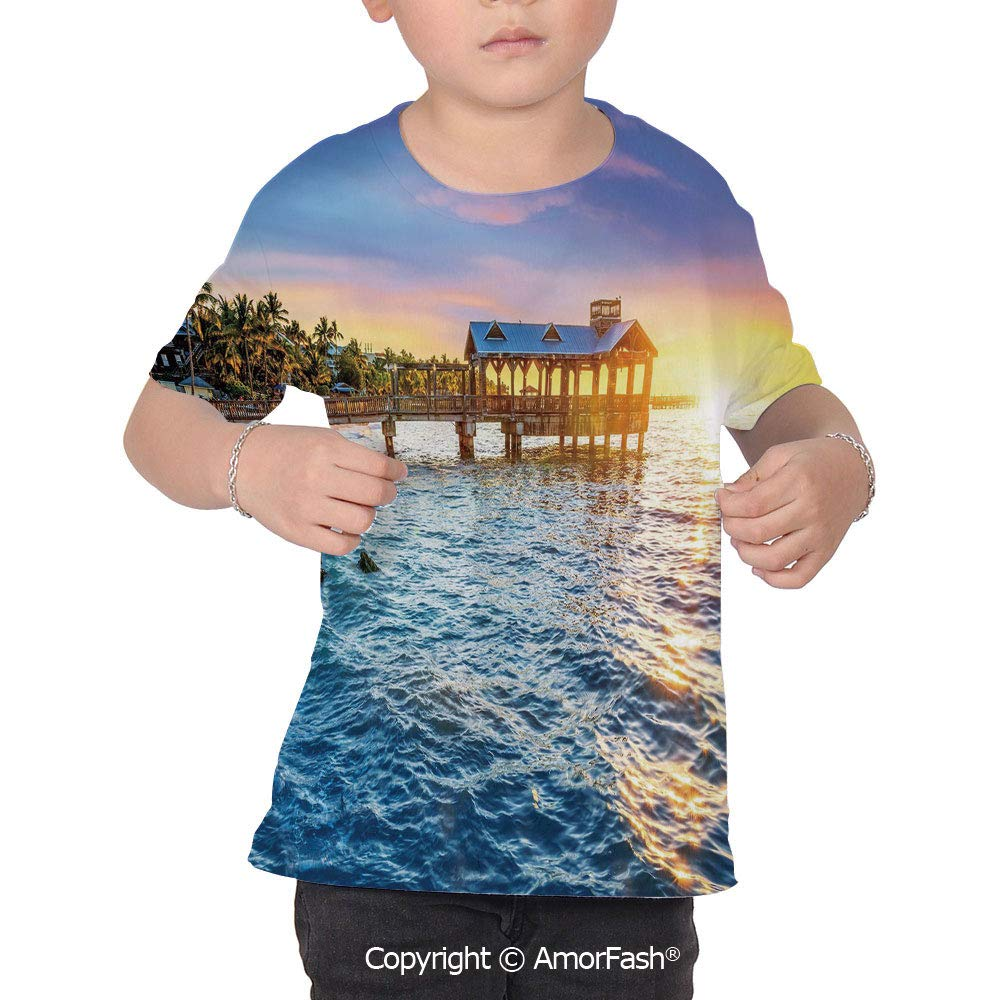 United States Colorful Boys and Girls Soft Short Sleeve T-Shirt,Pier at Beach in