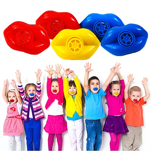 Mouth Lip Whistles - 4 Dozen Bulk - Plastic Party Noise-Making Blowing Whistles - Ideal for Holidays, Themed Birthday Parties, Reward Prizes, and Many -