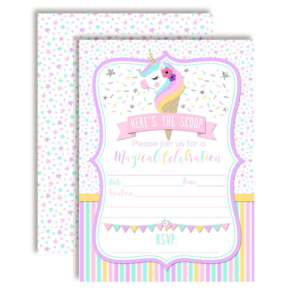 Magical Unicorn Ice Cream Cone Birthday Party Invitations for Girls 20 5x7 Fill in Cards with Twenty White Envelopes by AmandaCreation