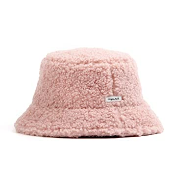 CHUHUI sombrero de pescador sombrero cordero lana felpa red rojo ...
