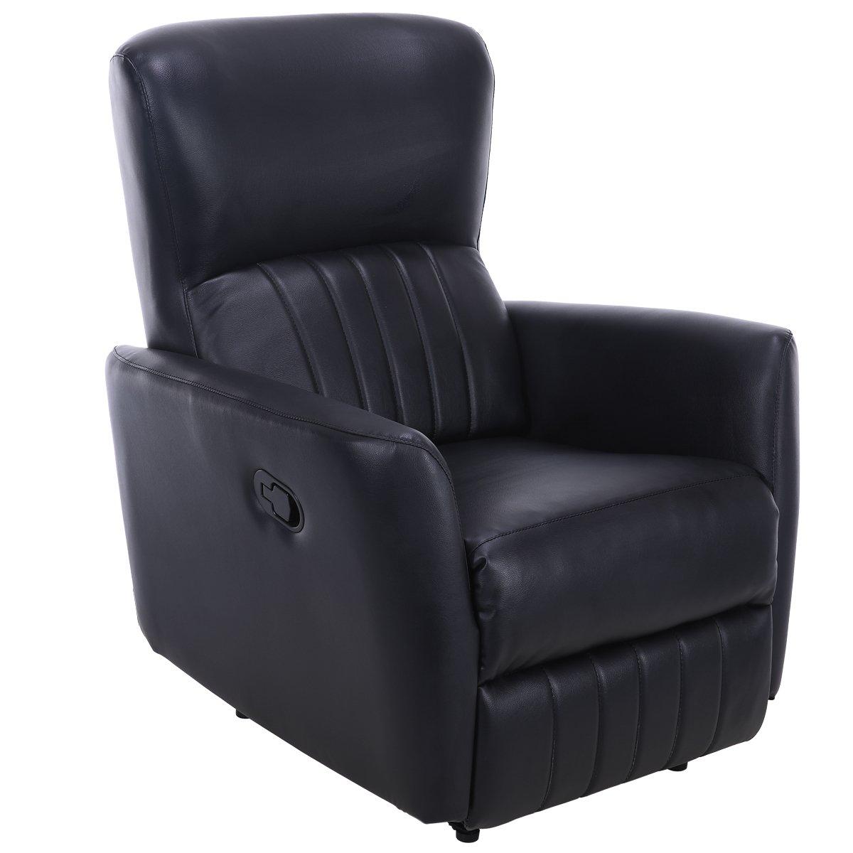 Giantex Recliner Chair PU Leather Lounger Club Manual Home Theater Seating Ergonomic Reclining Sofa Chair (Black)