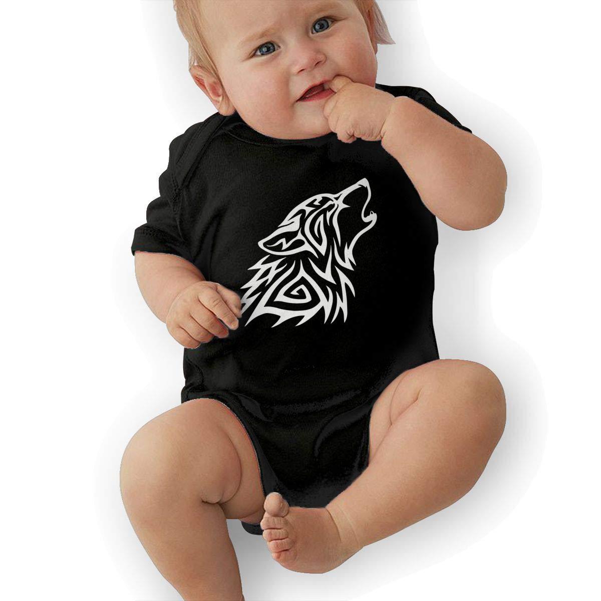 Short Sleeve Cotton Bodysuit for Unisex Baby Fashion Tribal Wolf Howl Playsuit