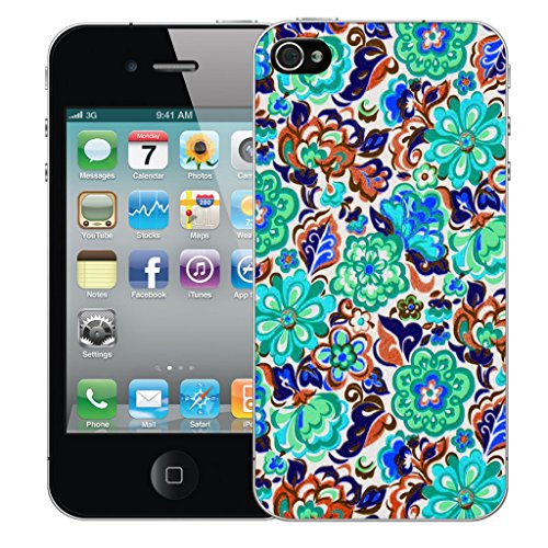 Mobile Case Mate iPhone 4 Silicone Coque couverture case cover Pare-chocs + STYLET - Blue Dianthus pattern (SILICON)