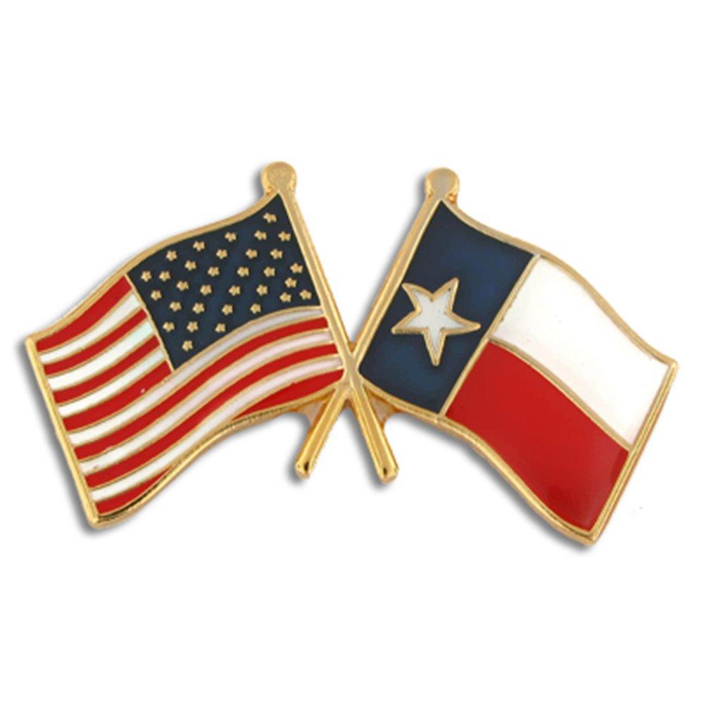PinMart's Texas and USA Crossed Friendship Flag Enamel Lapel Pin