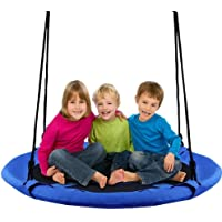 """Costzon 40"""" Waterproof Saucer Tree Swing Set, Outdoor Round Swing - Adjustable Hanging Ropes, Safe and Sturdy Swing for Children Park Backyard (Blue)"""
