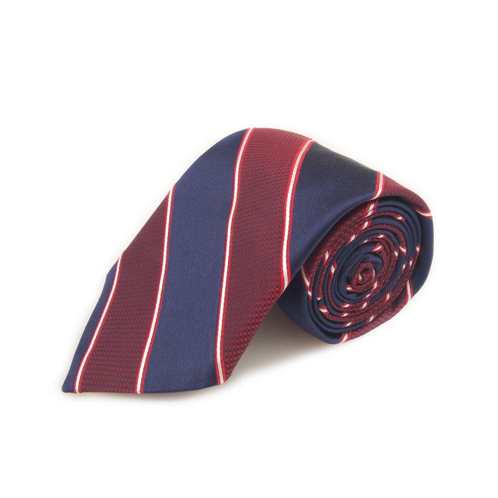 Robert Talbott Best Of Class Red And Navy Stripe Woven Silk Tie