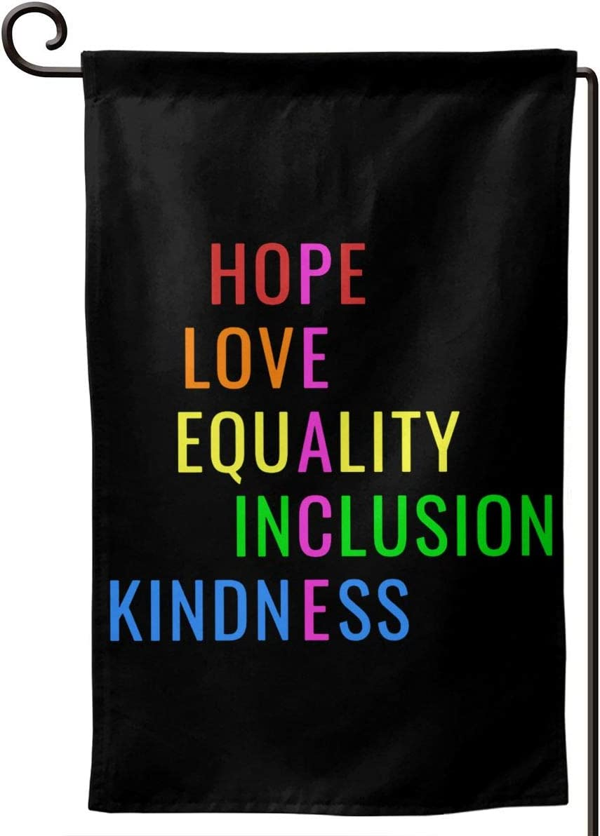 AIJEESI Love Peace Equality Inclusion Kindness Hope Garden Flag Double Sided Spring Summer Yard Outdoor Decorative 12.5 x 18 Inch
