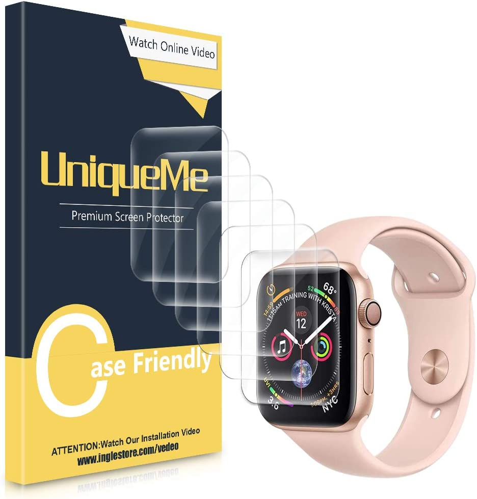 [6 Pack] UniqueMe Compatible with Apple Watch Series 4/5 / 6 / SE (42/44 mm) Screen Protector, [Flexible Film] Soft HD TPU Clear Anti-Scratch Film with Lifetime Replacement Warranty