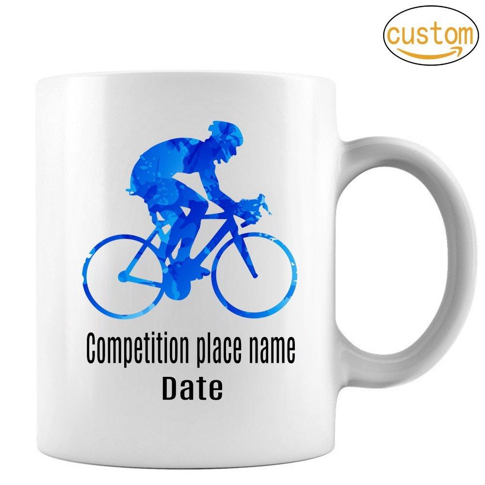 Blue cyclist Mug,Cycling Mug, Cyclist Mug, Mountain Bike Mug,Tour of France Mug, Tour of Italy Mug, Perfect Gift for Your Dad, Mom, Boyfriend, Girlfriend, or Friend -Custom Mug Add Name & date 11 oz