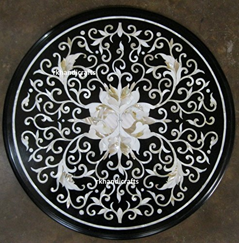 Round Black Marble Bed Side Table Top Inlaid Work with White Mother of Pearl for Giving Royal Look to Your Living Room