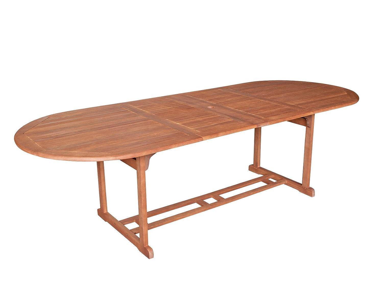 Tisch 180 / 260 x 100 Gartenmöbel Holztisch Eukalyptus Holz Gartentisch Balkon FSC geölt 98350