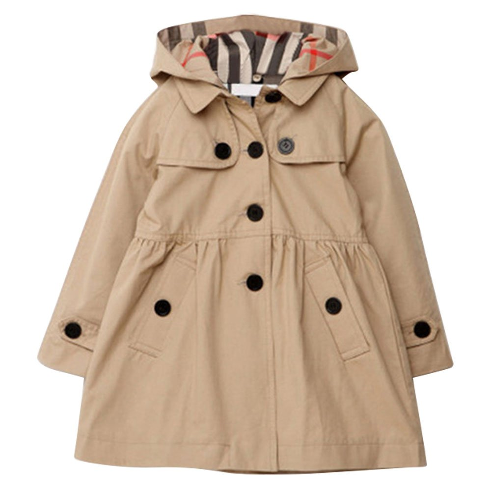 Tueenhuge Little Girls Trench Coat Pleated Spring Fall Cotton Jacket Outwear with Hoodie (2-3Y, Beige)