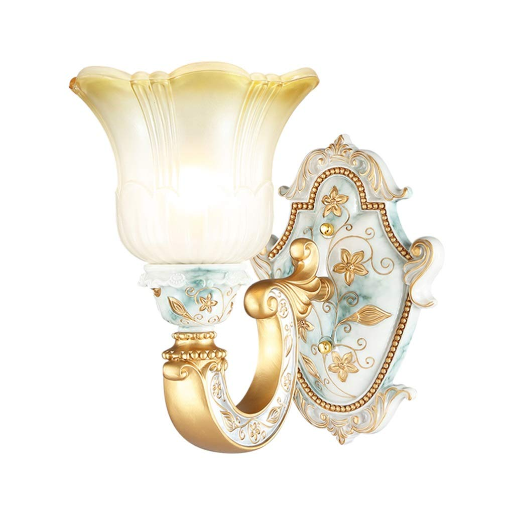 Traditional/Classic Country Wall Lamps Wall Sconces Wall Lighting Fixture, Vintage Carved Gold Finish Base and Curved White Glass Shade, Home Decor Wall Art Lights (Size : Single Light)
