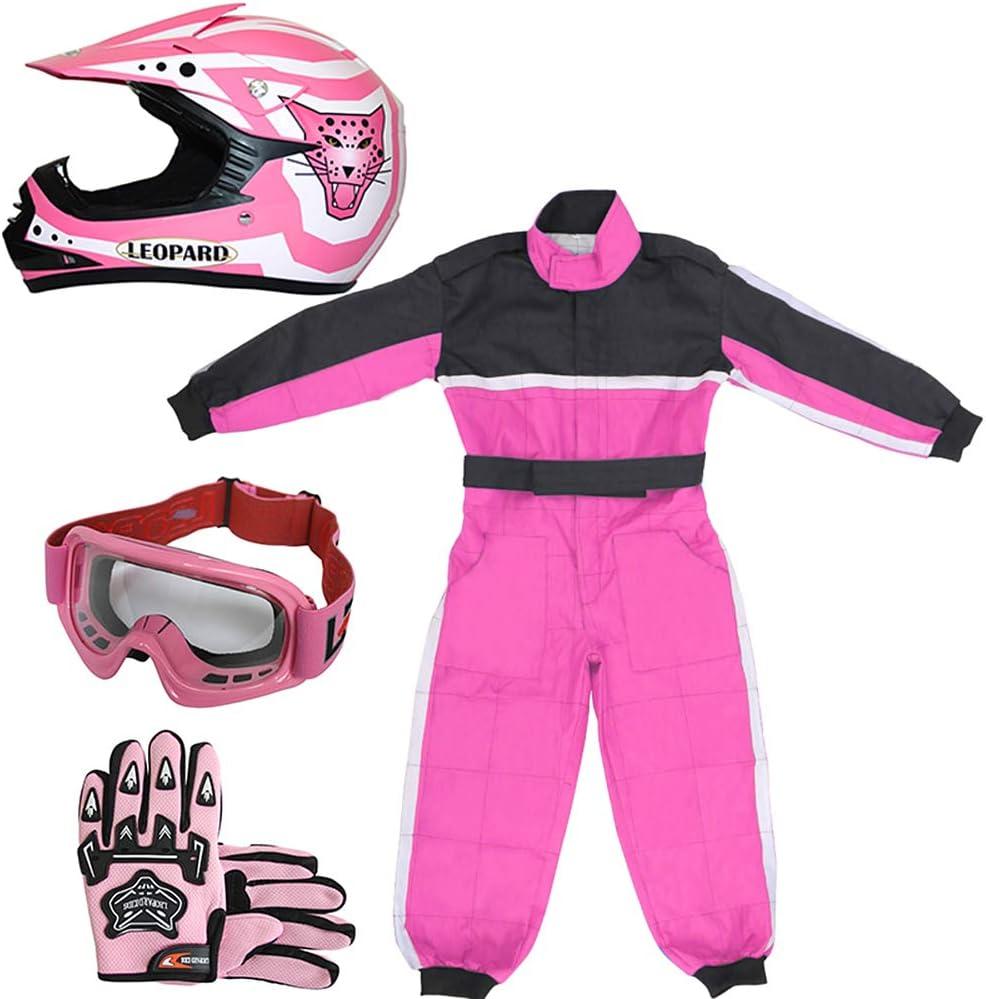 L 53-54cm /& Goggles L 7cm Kids CAMO Motocross 1PC Suit Leopard LEO-X15 Black Kids Motocross Motorbike Helmet XXL 12-13Yrs /& Gloves