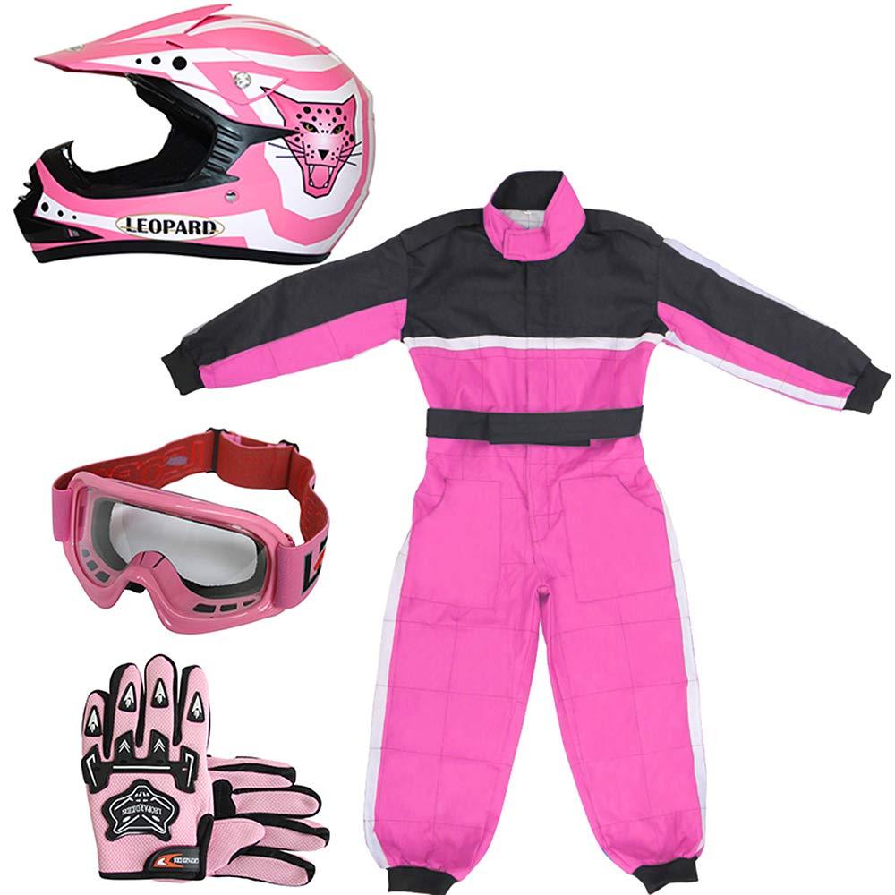 5-6Yrs Children Kids Motorbike Race Suit S 6cm Leopard LEO-X17 Pink Kids Motocross Helmet M /& Pink Gloves M /& Goggles 51-52cm