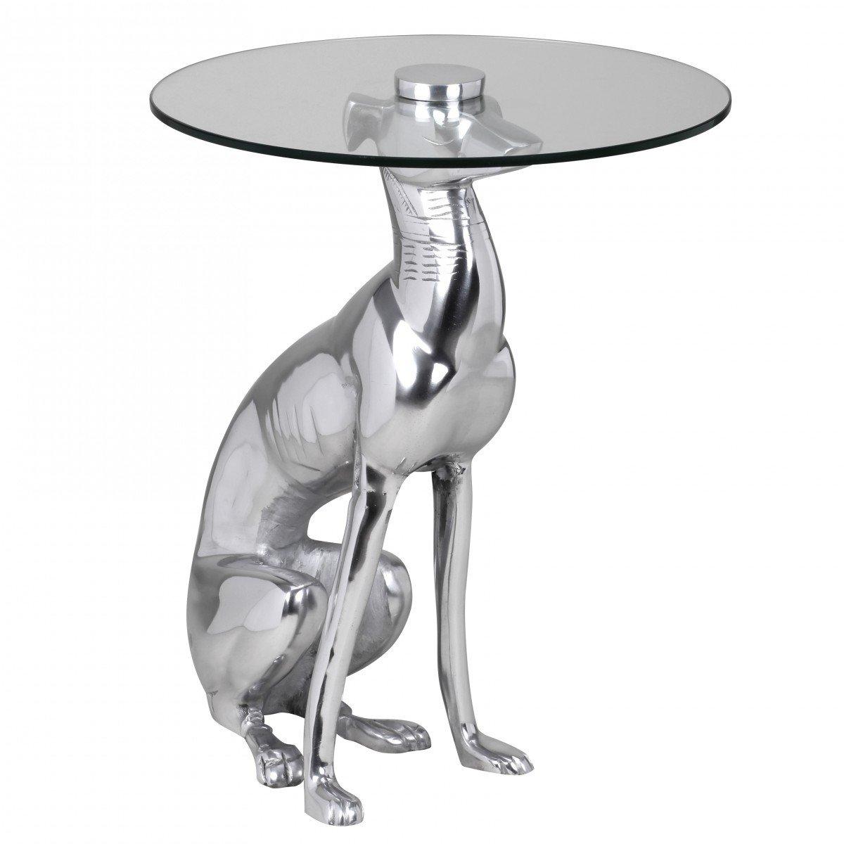 FineBuy Design Deko Beistelltisch Figur aus Aluminium Farbe Silber