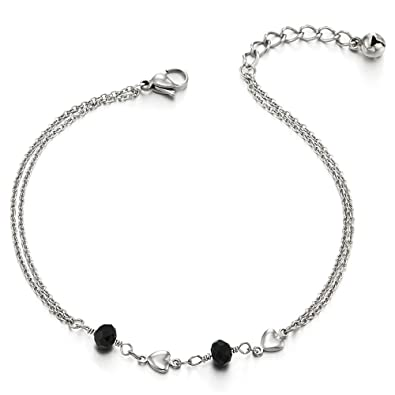 COOLSTEELANDBEYOND Stainless Steel Two-row Anklet Bracelet with Charms of Black Beads and Hearts w5gsUd