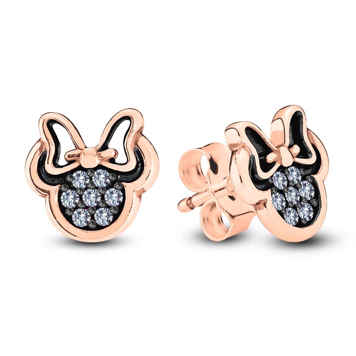 Gemstar Jewellery Round Cut Cubic Zirconia 18K Two Tone Gold Plated Minnie Mouse Push Back Earrings