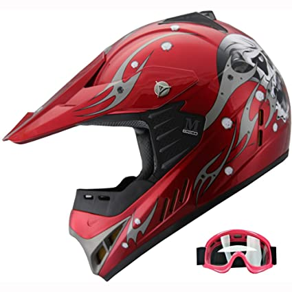 Kid ATV Motocross Dirt Bike Off-road Helmet Combo Skull YA82 +goggles (Wine