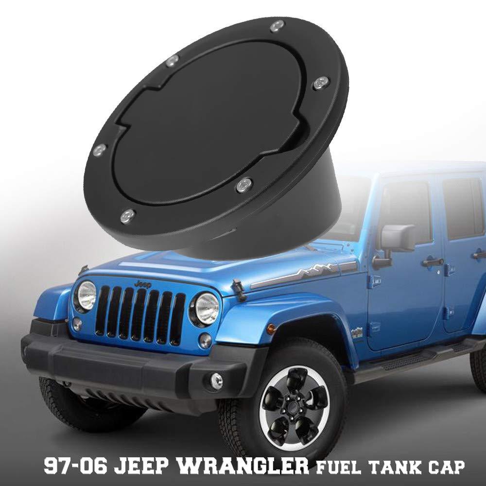Black Non LOGO Gas Tank Cap Cover Fuel Tank Cover for 4-Door 2-Door for 2007-2017 Jeep Wrangler JK /& Unlimited