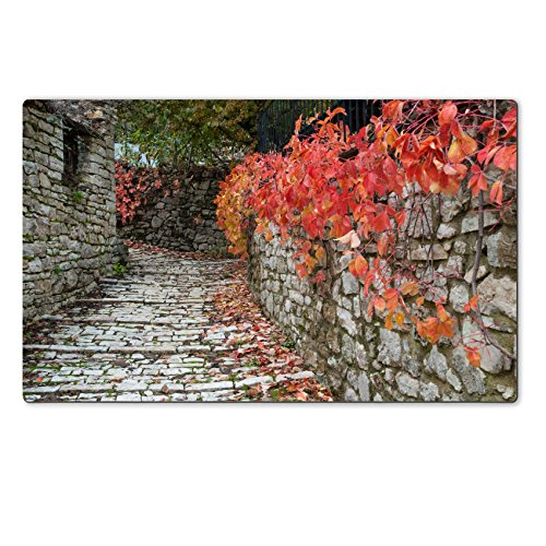 luxlady-natural-rubber-large-table-mat-image-id-25994490-road-with-red-leaves-in-a-traditional-villa
