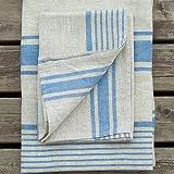 Natural Blue Striped Linen Towels Set Provence