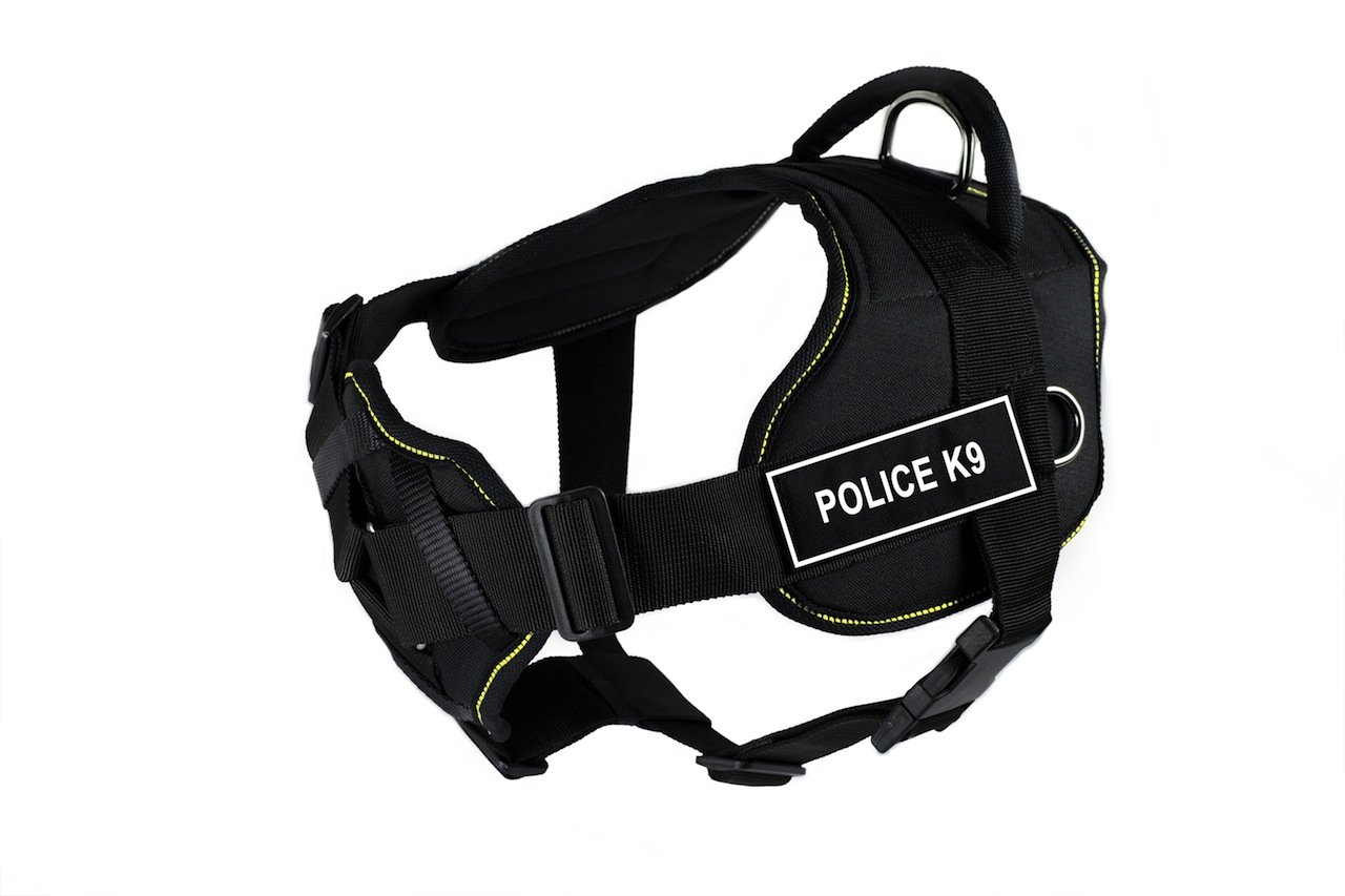 Dean & Tyler Black with Yellow Trim Fun Dog Harness with Padded Chest Piece, Police-K9, Small, Fits Girth Size 22-Inch to 27-Inch