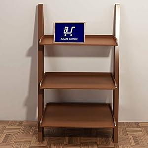 Amaze Shoppee Wooden Brown Ladder Shape 3 Tier Designer Book Shelf Wall Rack Shelf