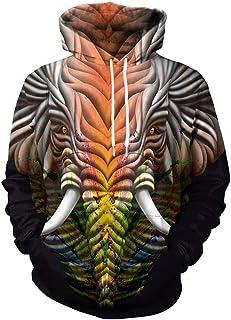 Huateng 3D Animal Pelo Largo Tridimensional impresión suéter con Capucha