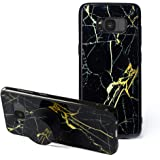 Samsung Galaxy S8 Case,S8 Marble Cases with Pop up Kickstand [Shockproof +Anti-Scratch] Fashion Soft TPU Bumper and Holder Stand Black Cover Case for Samsung Galaxy S8 (Black & Gold Marble)