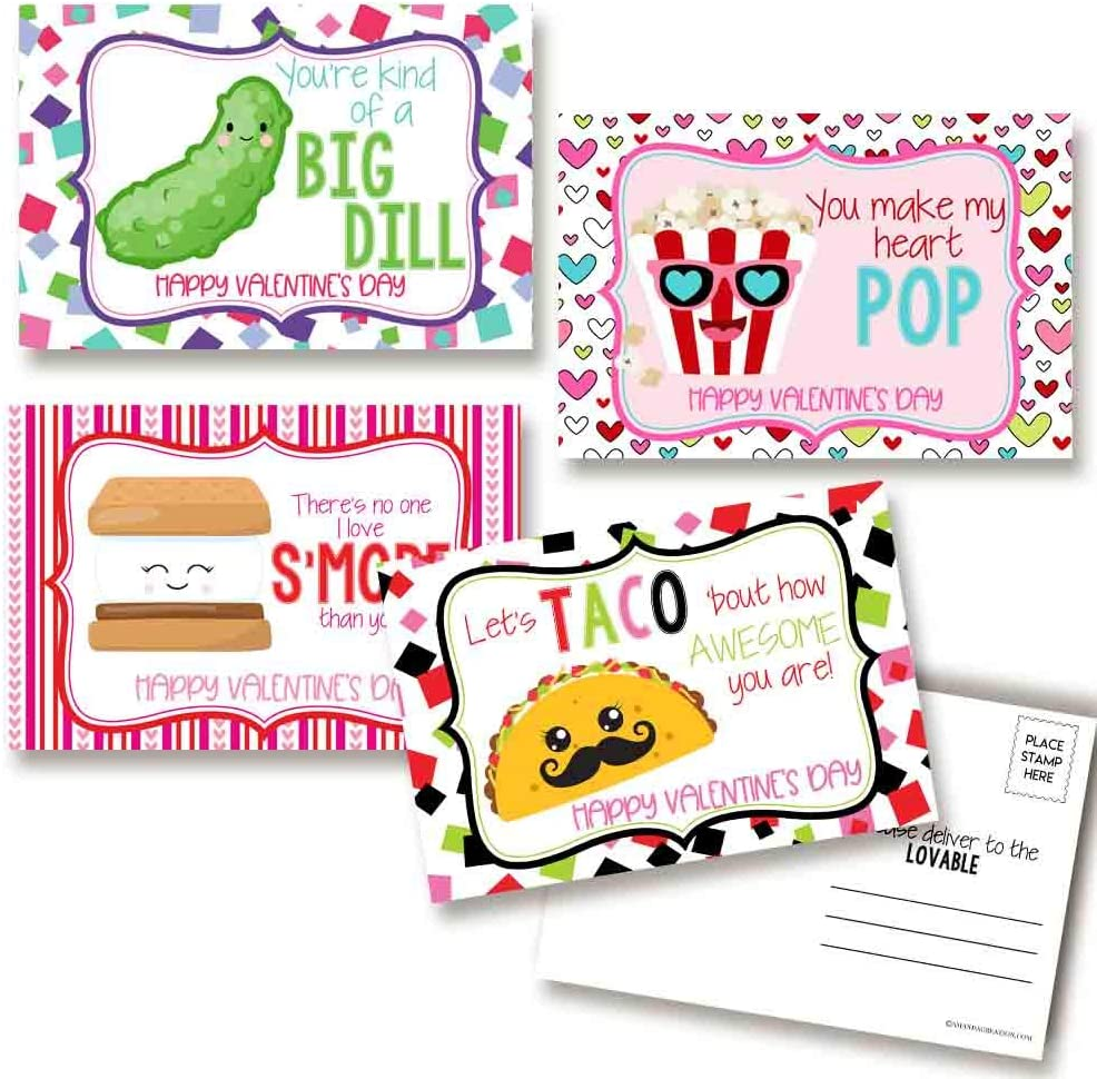 Funny Snack Food Themed Happy Valentine's Day Blank Postcards To Send To Friends & Family, 4