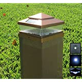 12 Pack Plastic Copper 6x6 inches Outdoor 5 LED 78Lumens Solar Post Cap Light (Designed to fit on 6x6 Hollow Vinyl/PVC/Plastic or Solid Wood/Composite Posts)