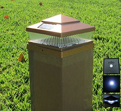 8 Pack Plastic Copper 5×5 inches Outdoor 5 LED 78Lumens Solar Post Cap Light Designed to fit on 5×5 Hollow Vinyl PVC Plastic or Solid Wood Composite Posts