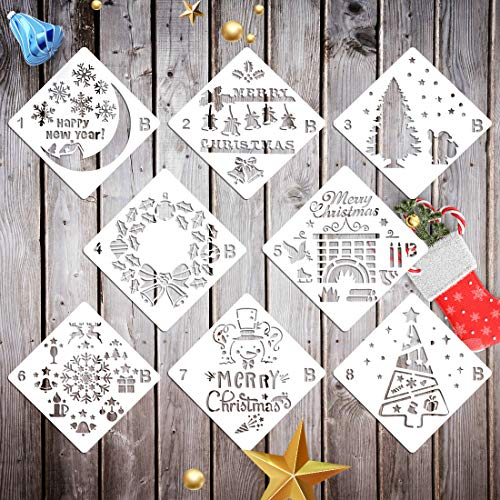 (Set of 8 Christmas Stencils Template Bullet Journal Stencil Reusable Plastic Christmas Painting Stencils for Spraying Window Glass Door Car Body Journal Notebook Diary DIY Scrapbook Drawing)