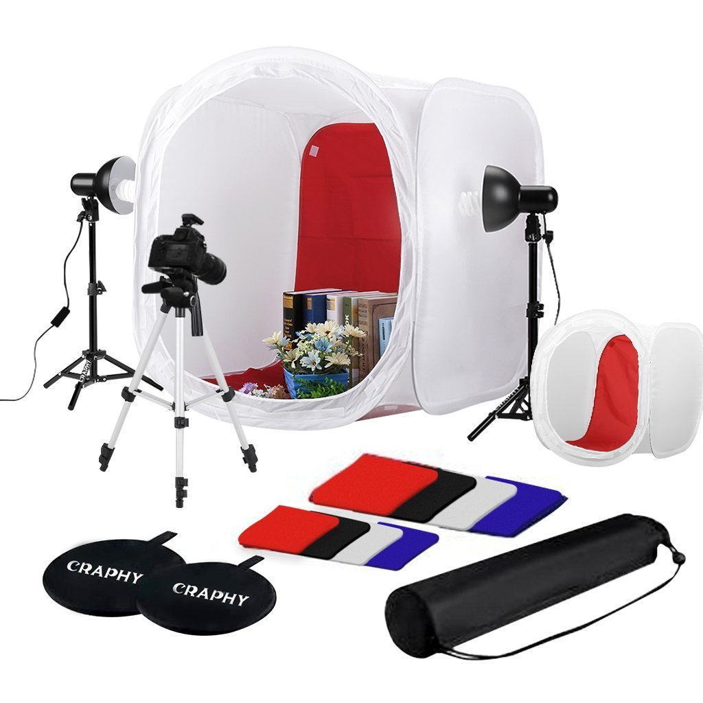 CRAPHY 2X45W Portable Table Top Photo Studio 17''&30'' Shooting Tent Lighting Kit with 17'' Light Tripod, 43'' Camera Tripod, 4 Backdrops White Black Red Blue