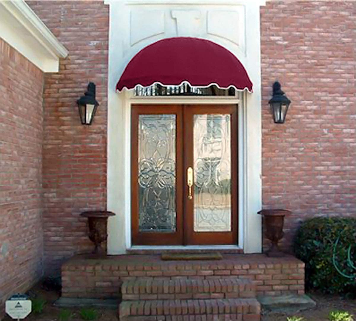 Dome Style Window Awning or Door Canopy 6 Wide in Sunbrella Awning Fabric – Burgundy