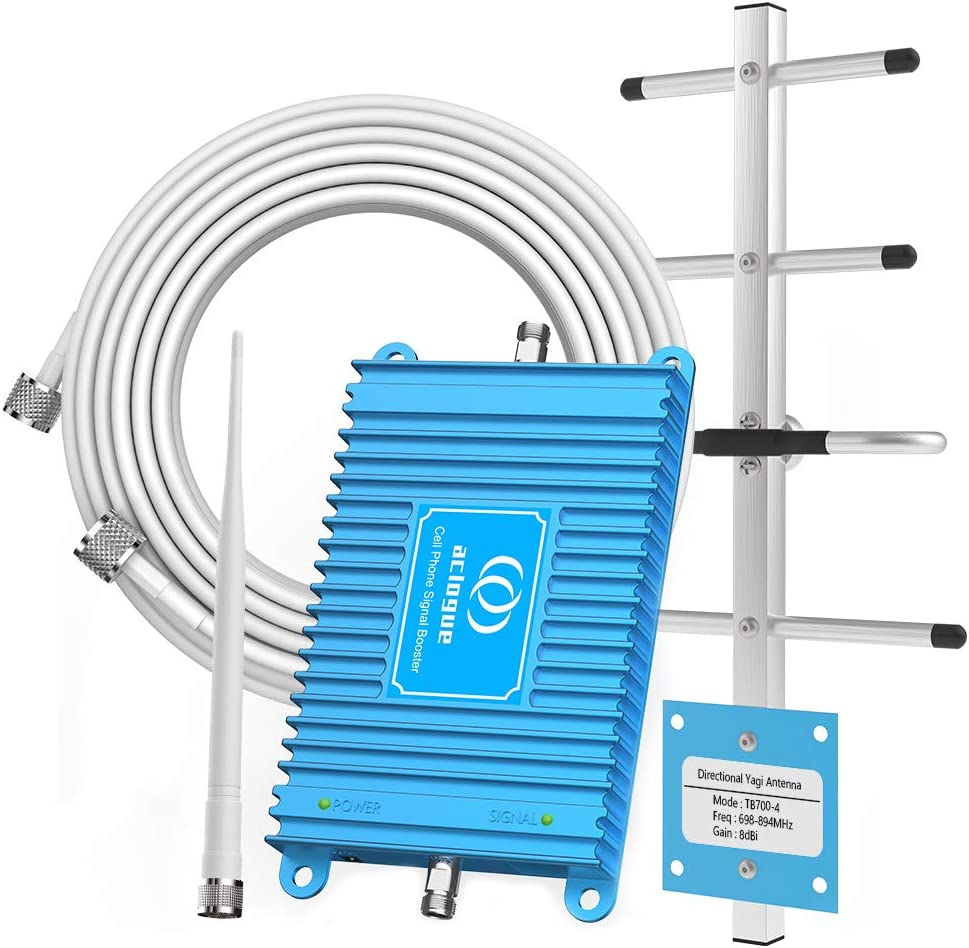 Home Cell Phone Signal Booster 700MHz Band 13/12/17 Dual Bands Mobile Signal Repeater Amplifier Compatible with Verizon, ATT, T-Mobile, Straight Talk, U.S. Cellular (Blue)